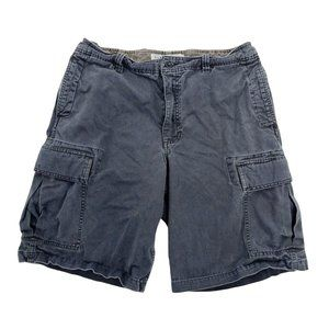 Old Navy Cargo Shorts Men's 33 Blue Loose Fit Flap Pockets Zip Fly 100% Cotton